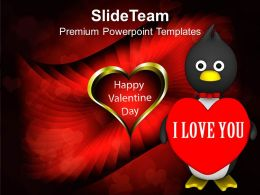 Valentine Penguin Isolated Winter PowerPoint Templates PPT Themes And Graphics 0213