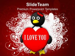 Valentine Penguin Shape Love PowerPoint Templates PPT Themes And Graphics 0213