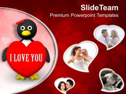 Valentine Penguin Wedding Romance PowerPoint Templates PPT Themes And Graphics 0213