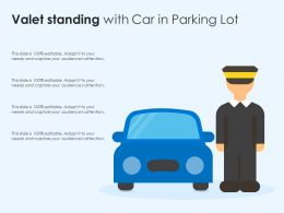 Valet Standing With Car In Parking Lot