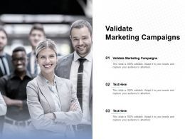 Validate Marketing Campaigns Ppt Powerpoint Presentation Outline Design Ideas Cpb