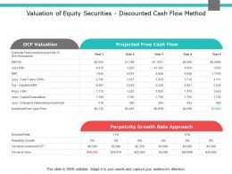 Valuation Of Equity Securities Discounted Cash Flow Method Ppt Slides