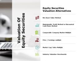 Valuation Of Equity Securities Earnings Multiple Ppt Powerpoint Infographics