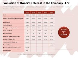 Valuation Of Owners Interest In The Company Discretionary Ppt Powerpoint Presentation Model