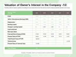 Valuation Of Owners Interest In The Company Loans Paid Ppt Powerpoint Presentation Pictures Aids