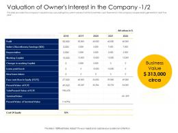 Valuation Of Owners Interest In The Company Profit Alternative Financing Pitch Deck Ppt Portrait