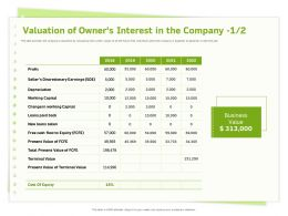 Valuation Of Owners Interest In The Company Terminal Value Ppt Powerpoint Presentation Pictures Show