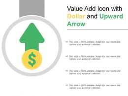 Value Add Icon With Dollar And Upward Arrow