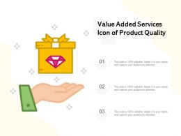 Value Added Services Icon Of Product Quality