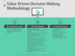 Value Driven Decision Making Methodology N604 Ppt Powerpoint Presentation Slideshow