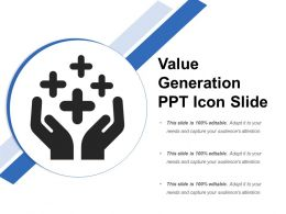 Value Generation Ppt Icon Slide