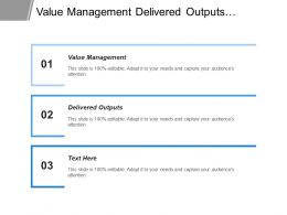 Value Management Delivered Outputs Enhance Capabilities Expected Benefits