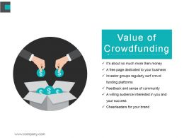 Value Of Crowdfunding Powerpoint Layout