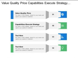 Value Quality Price Capabilities Execute Strategy Focus Quality