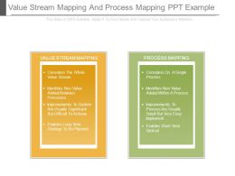 Value Stream Mapping And Process Mapping Ppt Example