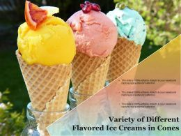 Variety Of Different Flavored Ice Creams In Cones