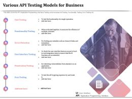 Various API Testing Models For Business Functionality Testing Ppt Information