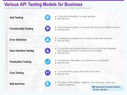 Various Api Testing Models For Business Penetration Ppt Presentation Tips