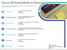 Various API Testing Models For Business Ppt Icon Influencers