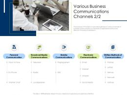 Various Business Communications Channels M2079 Ppt Powerpoint Presentation Infographic Template