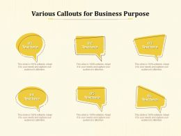Various Callouts For Business Purpose