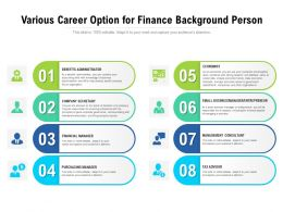 Various Career Option For Finance Background Person