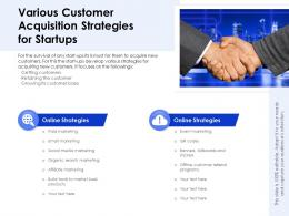 Various Customer Acquisition Strategies For Startups