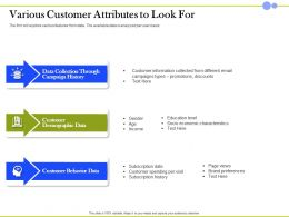 Various Customer Attributes To Look For Campaign History Ppt Infographics