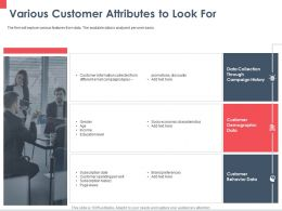 Various Customer Attributes To Look For Promotions Ppt Powerpoint Presentation Layouts Mockup