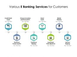 Various E Banking Services For Customers