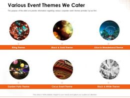 Various Event Themes We Cater Corporate Ppt Powerpoint Presentation Objects