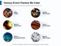 Various Event Themes We Cater Garden Ppt Powerpoint Presentation Guide