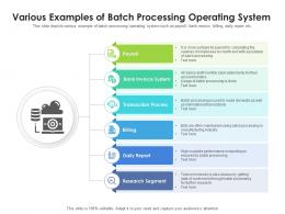 Various Examples Of Batch Processing Operating System