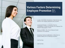 Various Factors Determining Employee Promotion