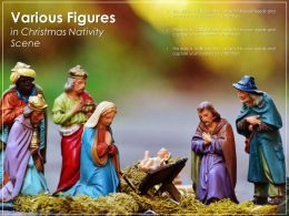 Various Figures In Christmas Nativity Scene