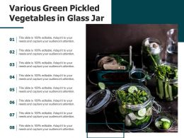 Various Green Pickled Vegetables In Glass Jar