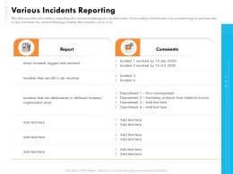 Various Incidents Reporting Ppt File Aids