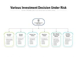 Various Investment Decision Under Risk