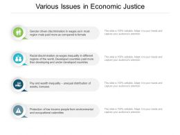 Various Issues In Economic Justice