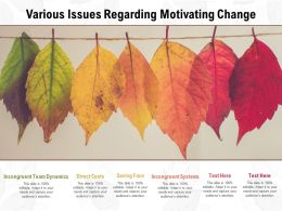 Various Issues Regarding Motivating Change