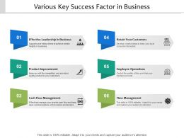 Various Key Success Factor In Business