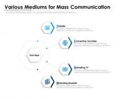 Various Mediums For Mass Communication