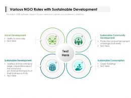 Various NGO Roles With Sustainable Development