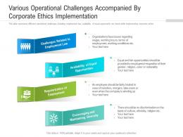 Various Operational Challenges Accompanied By Corporate Ethics Implementation
