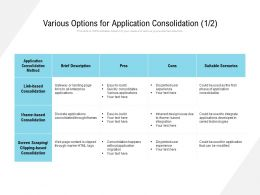 Various Options For Application Consolidation