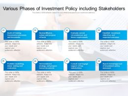 Various Phases Of Investment Policy Including Stakeholders