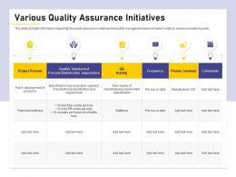 Various Quality Assurance Initiatives Buffering Ppt Powerpoint Presentation Gallery Deck