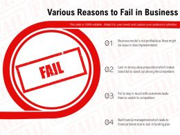 Various Reasons To Fail In Business
