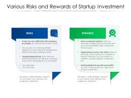 Various Risks And Rewards Of Startup Investment