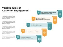 Various Rules Of Customer Engagement